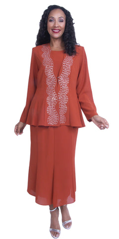 Rust 3-Piece Adorned with Rhinestones Long Sleeve Jacket Church Dress