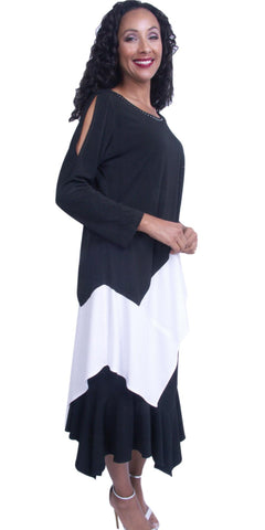 Round Neckline Long Peekaboo Sleeves Semi-Formal Dress White/Black