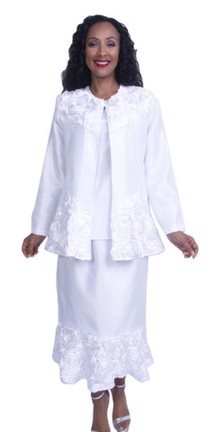 White Long Sleeves Formal Applique Dress Tea-Length Plus Size