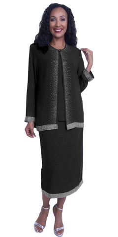 3-Piece Dress Black Plus Size Tea-Length Long Sleeves Jacket