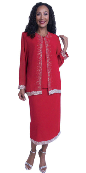 Plus Size 3-Piece Embellished Formal Dress Red Long Sleeve