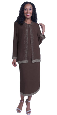 Plus Size 3-Piece Embellished Formal Dress Brown Long Sleeve