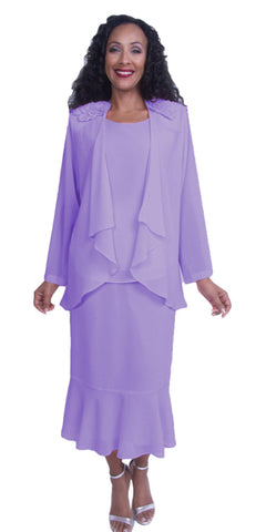 Hosanna 3830 - Plus Size Tea Length Dress Lilac  3 Piece Set
