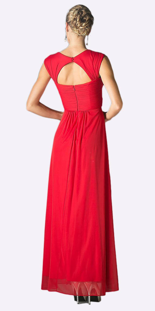 Cinderella Divine 3831 - Full Length Apple Red Beach Wedding Bridesmaid Dress Flowy Chiffon Back View