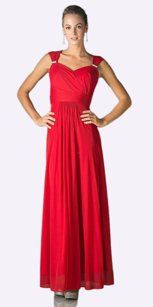 Cinderella Divine 3831 - Full Length Apple Red Beach Wedding Bridesmaid Dress Flowy Chiffon