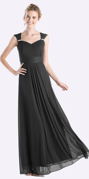 Cinderella Divine 3831 - Full Length Black Beach Wedding Bridesmaid Dress Flowy Chiffon