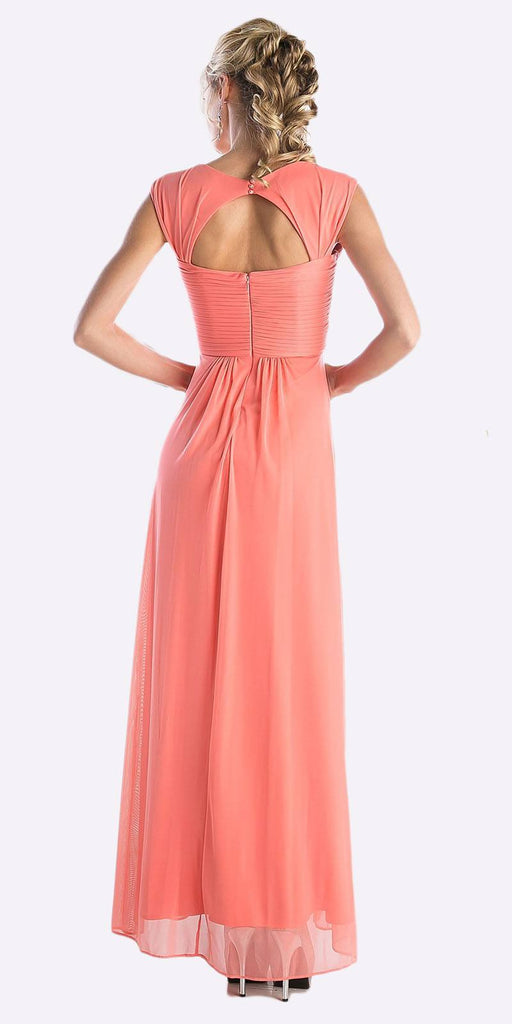 Cinderella Divine 3831 - Full Length Coral Beach Wedding Bridesmaid Dress Flowy Chiffon Back View