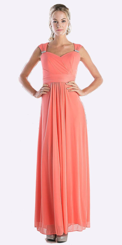 Cinderella Divine 3831 - Full Length Coral Beach Wedding Bridesmaid Dress Flowy Chiffon