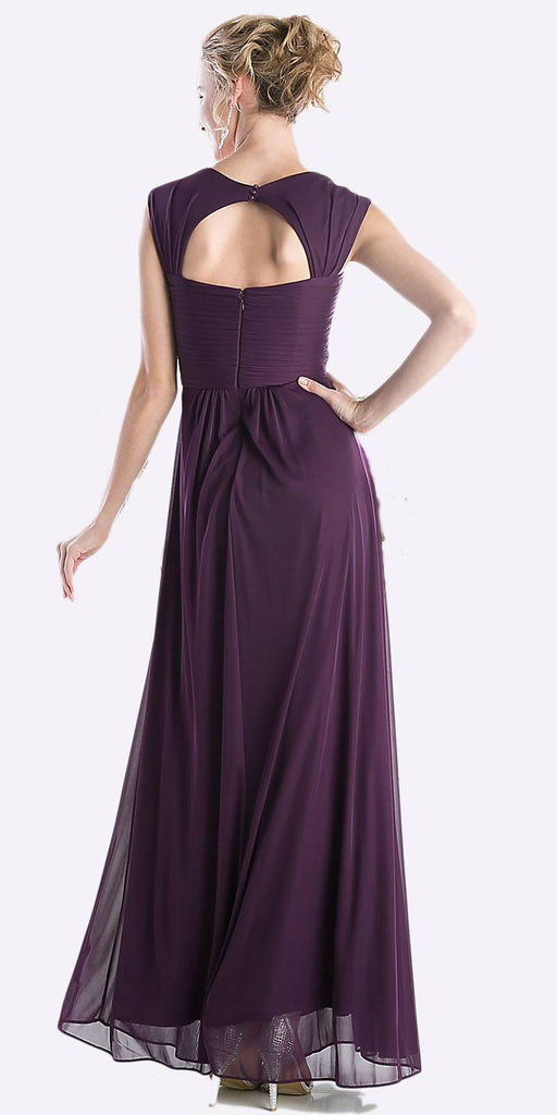 Cinderella Divine 3831 - Full Length Eggplant Beach Wedding Bridesmaid Dress Flowy Chiffon Back View