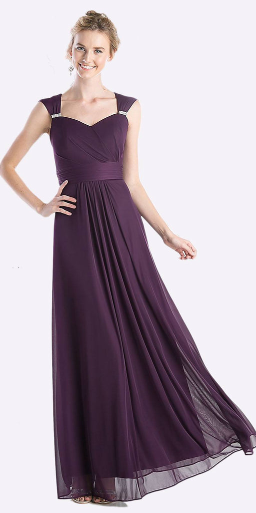 Cinderella Divine 3831 - Full Length Eggplant Beach Wedding Bridesmaid Dress Flowy Chiffon