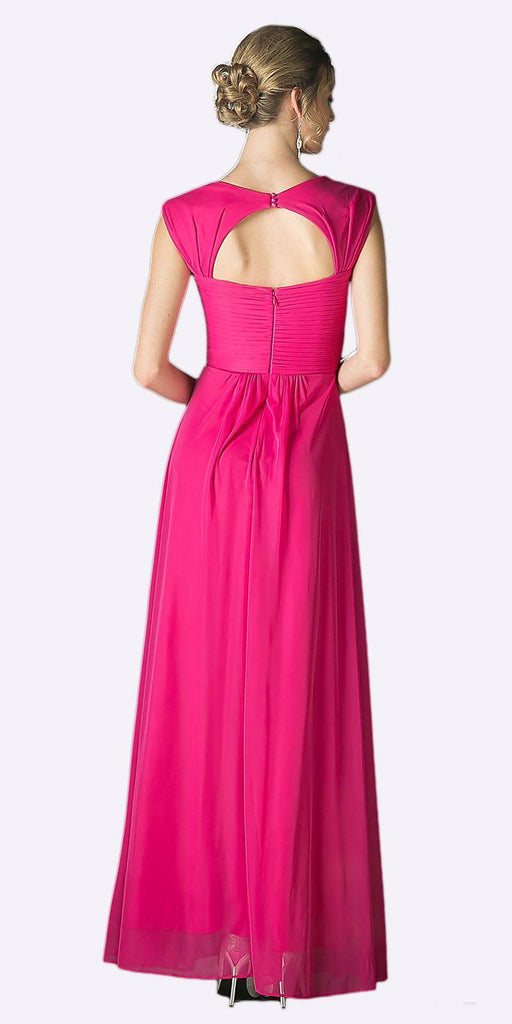 Cinderella Divine 3831 - Full Length Fuchsia Beach Wedding Bridesmaid Dress Flowy Chiffon Back View