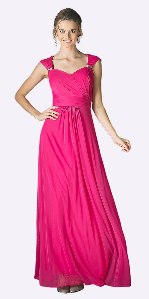 Cinderella Divine 3831 - Full Length Fuchsia Beach Wedding Bridesmaid Dress Flowy Chiffon