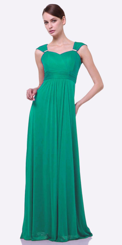 Cinderella Divine 3831 - Full Length Jade Beach Wedding Bridesmaid Dress Flowy Chiffon