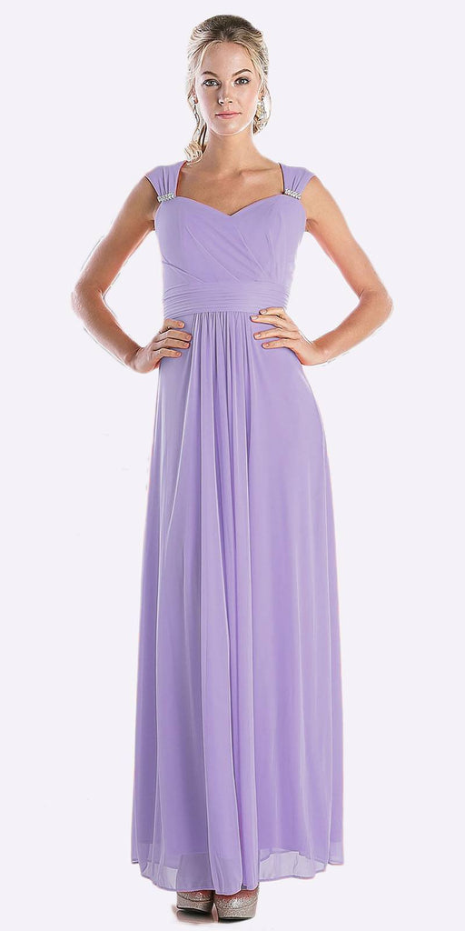 Cinderella Divine 3831 - Full Length Lavender Beach Wedding Bridesmaid Dress Flowy Chiffon