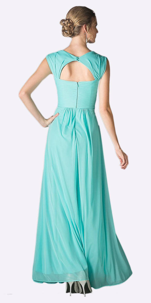 Cinderella Divine 3831 - Full Length Mint Beach Wedding Bridesmaid Dress Flowy Chiffon Back View