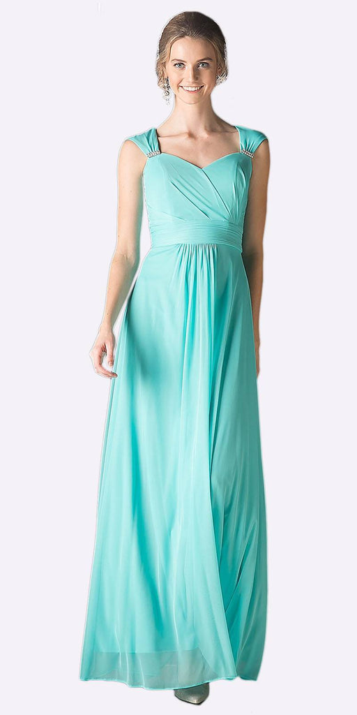 Cinderella Divine 3831 - Full Length Mint Beach Wedding Bridesmaid Dress Flowy Chiffon