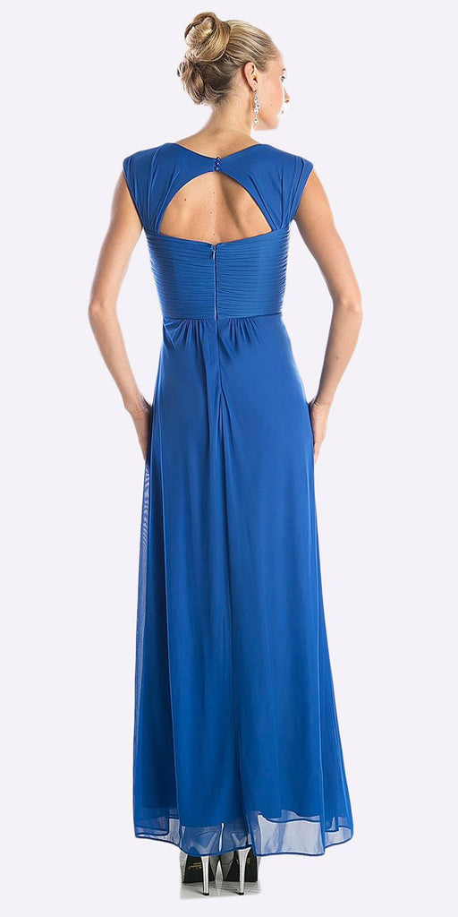 Cinderella Divine 3831 - Full Length Royal Blue Beach Wedding Bridesmaid Dress Flowy Chiffon Back View