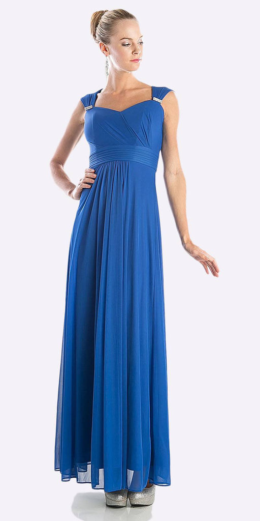 Cinderella Divine 3831 - Full Length Royal Blue Beach Wedding Bridesmaid Dress Flowy Chiffon