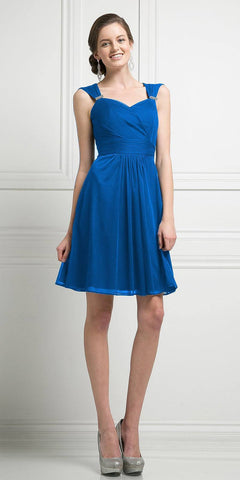 Cinderella Divine 3832 Royal Blue Chiffon Thick Strap Sweetheart Neckline Short Cocktail Dress