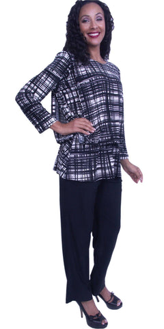 Round Neck Padded Long Sleeves Print Top Pant Suit Black