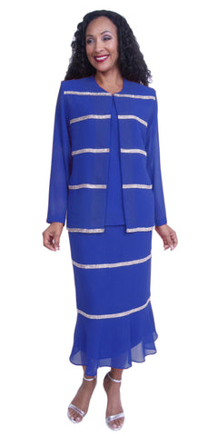 Royal Blue 3-Piece Plus Size Formal Dress with Rhinestones Strips