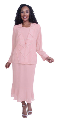 Peach Georgette Tea-Length Dress Embellished Long Sleeve Jacket