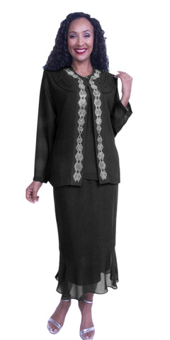 Black 3-Piece Set Modest Tea-Length Georgette Dress Plus Size