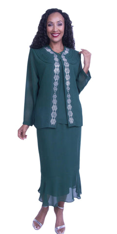 Green 3-Piece Set Modest Tea-Length Georgette Dress Plus Size