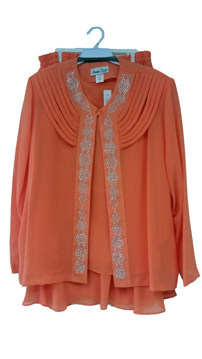 Orange 3-Piece Set Modest Tea-Length Georgette Dress Plus Size