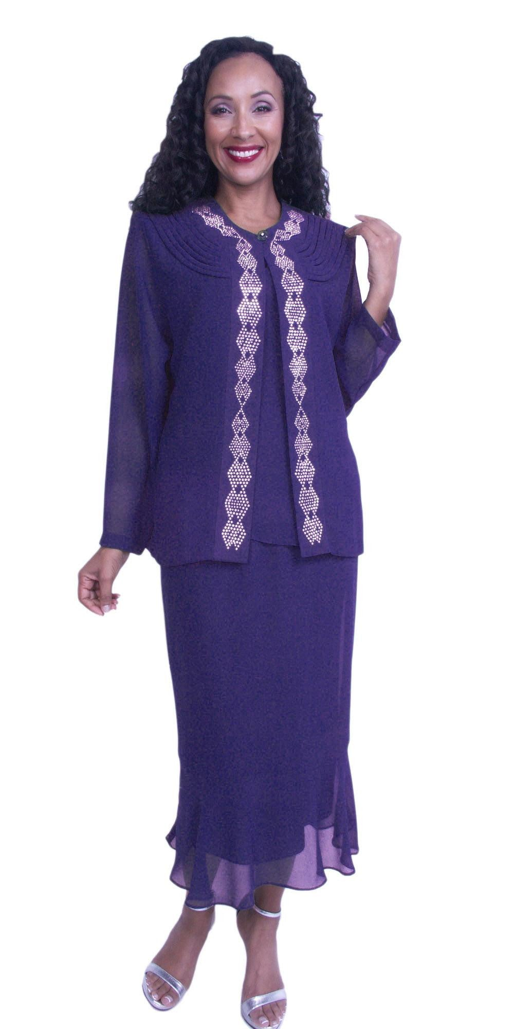 Purple 3-Piece Set Modest Tea-Length Georgette Dress Plus Size