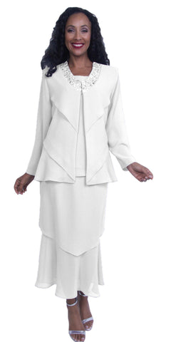 White Layered Georgette Tea-Length Formal Dress Embellished Collar