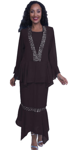 3-Piece Set Black Embellished Peplum Jacket Modest Dress