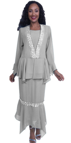 3-Piece Set Silver Embellished Peplum Jacket Modest Dress