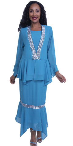 3-Piece Set Turquoise Embellished Peplum Jacket Modest Dress