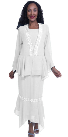 3-Piece Set White Embellished Peplum Jacket Modest Dress