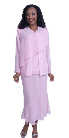 Pink 3-Piece Embellished with Drape Long Sleeves Formal Dress