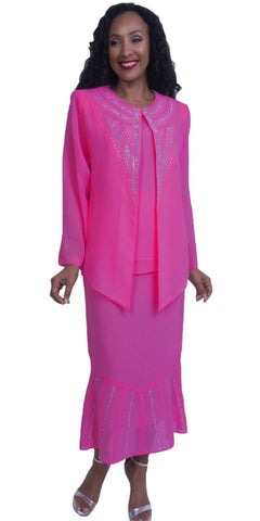 Fuchsia Embellished Plus Size Formal Dress Tea-Length Long Sleeves