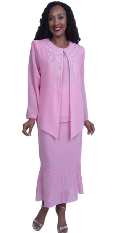 Pink Embellished Plus Size Formal Dress Tea-Length Long Sleeves