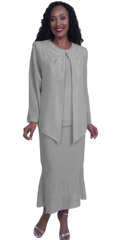Hosanna 3849 - Silver Embellished Plus Size Formal Dress Tea Length Long Sleeves