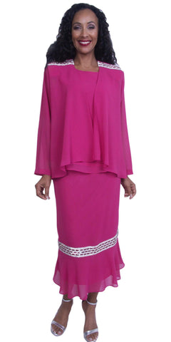Fuchsia Tea-Length Rhinestones Modest Dress Plus Size Georgette
