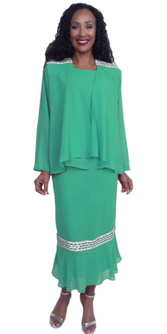 Kelly Green Tea-Length Rhinestones Modest Dress Plus Size Georgette