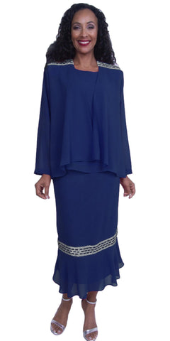 Navy Blue Tea-Length Rhinestones Modest Dress Plus Size Georgette