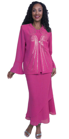 Elegant Embellished Tea-Length Dress in Fuchsia Formal