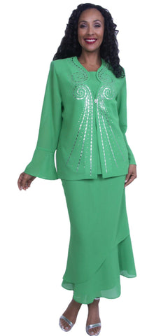 Elegant Embellished Tea-Length Dress in Kelly Green Formal