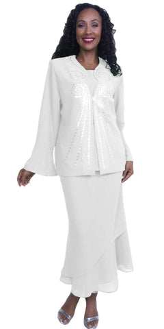 Elegant Embellished Tea-Length Dress in White Formal