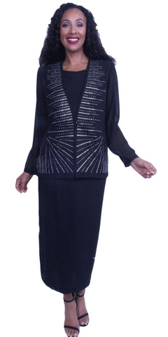Black Plus Size Formal Dress Long Sleeve Embellished Top