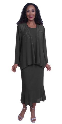 Plus Size Georgette 3-Piece Modest Dress Embellished Jacket Black