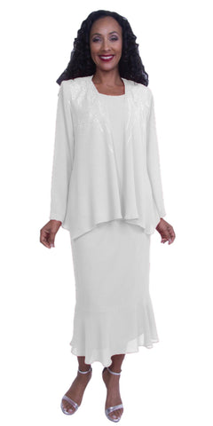 Plus Size Georgette 3-Piece Modest Dress Embellished Jacket White