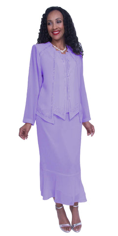 Lilac Long Sleeve Embellished 3-Piece Plus Size Modest Dress