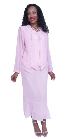 Pink Long Sleeve Embellished 3-Piece Plus Size Modest Dress